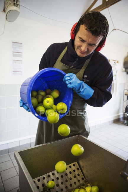 Man pouring apples — Stock Photo