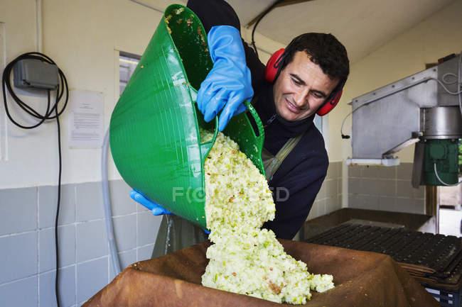 Man preparing crushed apple pulp — Stock Photo