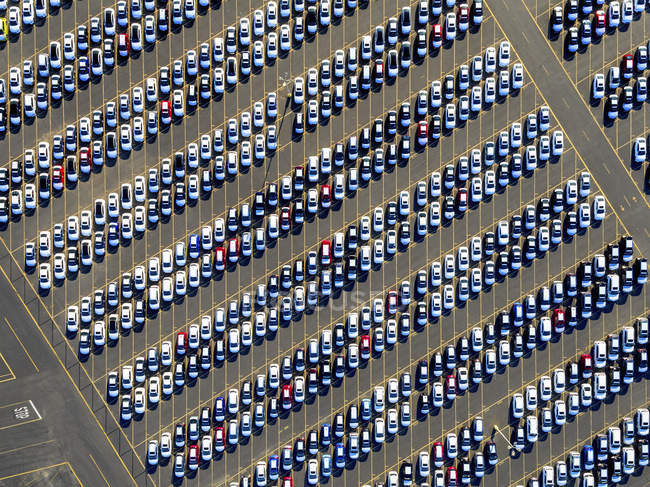 Cars parked in rows — Stock Photo