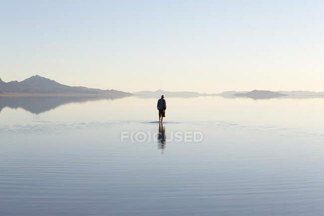 Inundado Bonneville Sal Flats — Fotografia de Stock