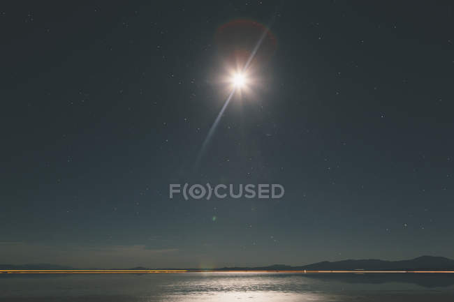 Starry sky above Bonneville Salt Flats — Stock Photo