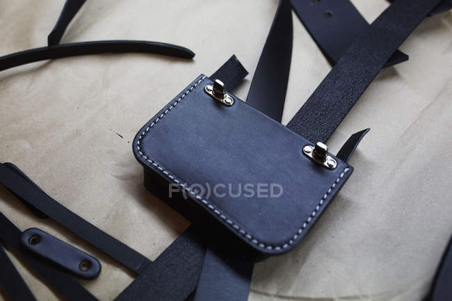 Handmade blue leather bag — Stock Photo