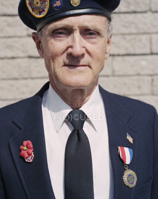 Portrait of elderly Korean War veteran — Stock Photo