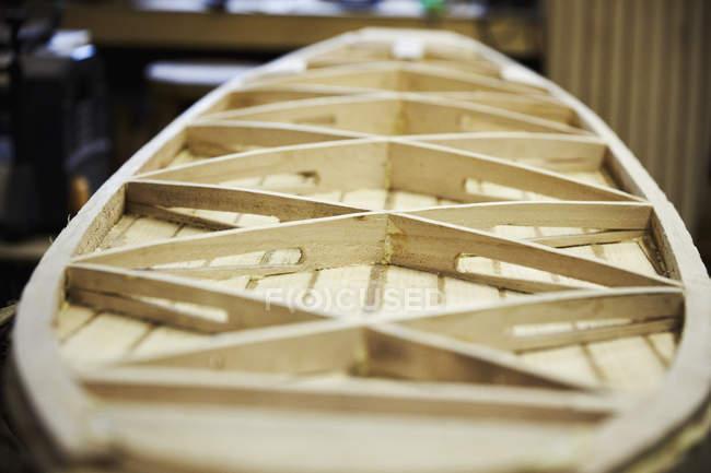 Wooden surfboard under construction — Stock Photo