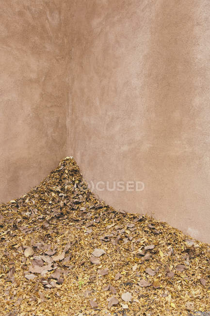 Autumn leaves heaped up in corner — Stock Photo
