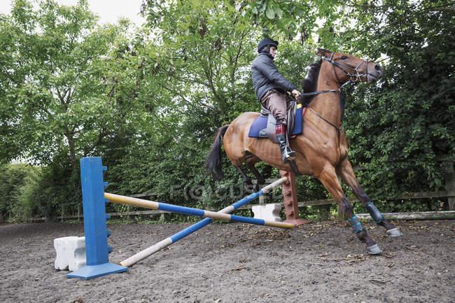 Mann reitet braunen Pferd auf Koppel — Stockfoto