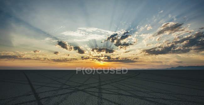 Faixas de pneus levando a horizon — Fotografia de Stock