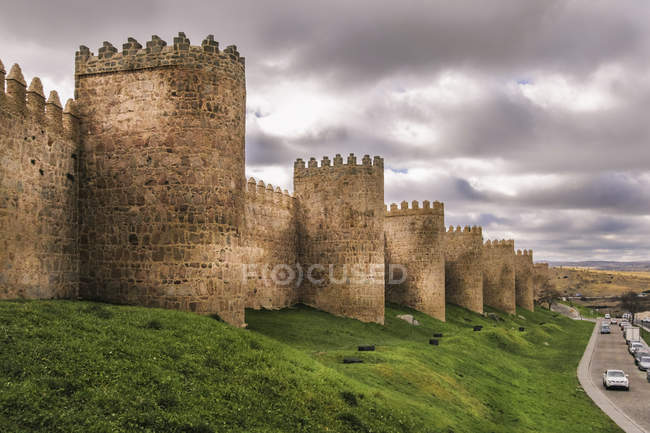 Fortifications of castle ramparts and round towers — Stock Photo