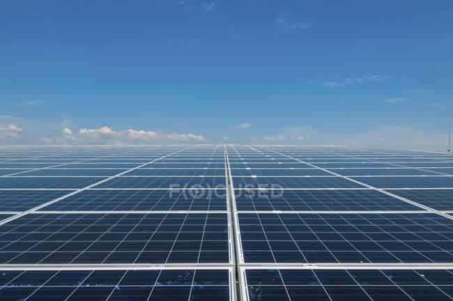 Солнечные панели в сетке на плоской равнине — стоковое фото