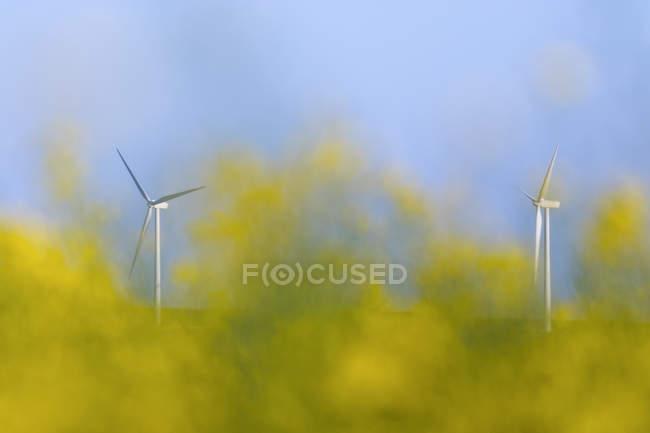 Ansicht von zwei Windkraftanlagen — Stockfoto