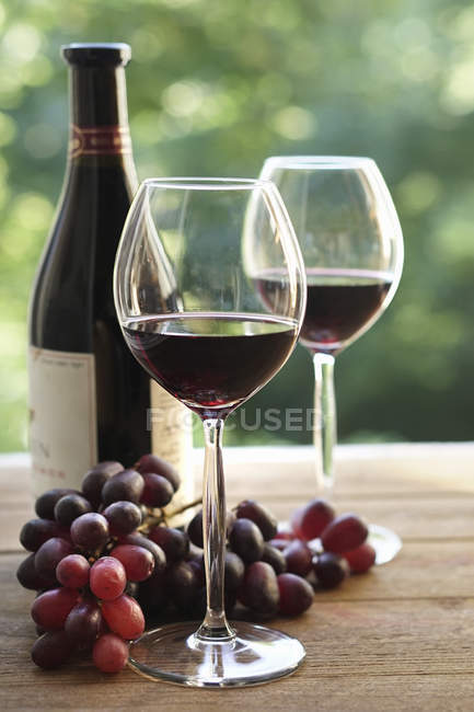 Zwei Weingläser und Flasche — Stockfoto