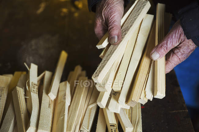 Man holding bundle of wooden pegs. — Stock Photo