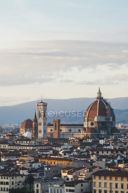 Roof of cathedral and historical landmarks — Stock Photo