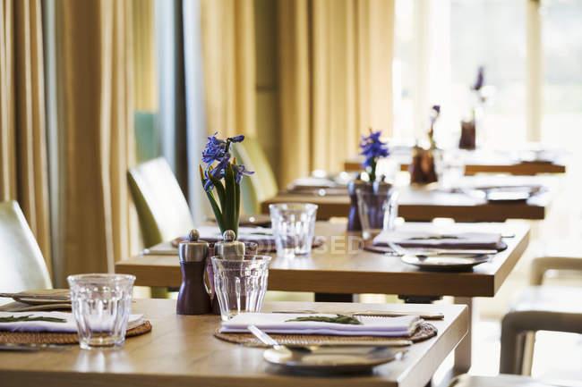 Настройки таблиці в їдальні — стокове фото