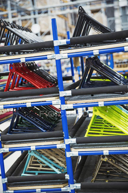 Bicycle frames in a bicycle factory. — Stock Photo