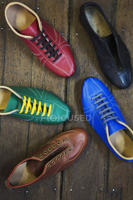 Colourful leather shoes — Stock Photo