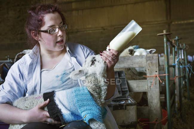 Mulher alimentando o cordeiro recém-nascido — Fotografia de Stock