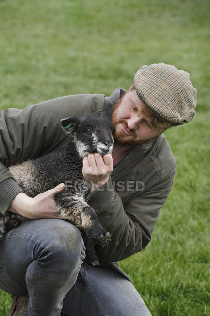 Farmer holding a young lamb — Stock Photo