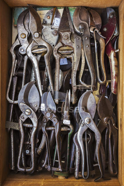 Box of old rusty worn metal shears — Stock Photo