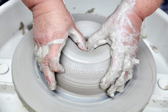 Person using pottery wheel — Stock Photo