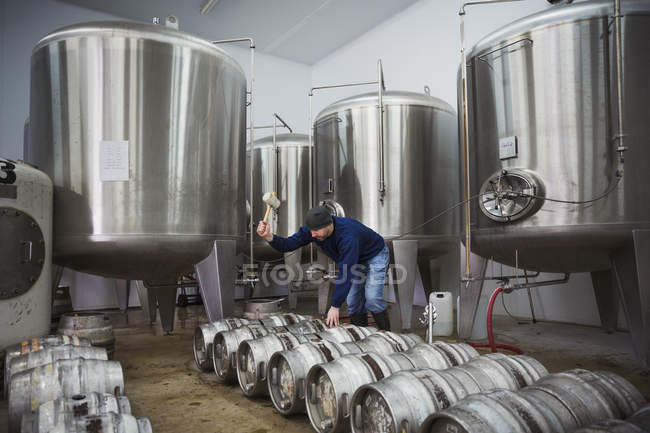 Man next to row of beer kegs — Stock Photo
