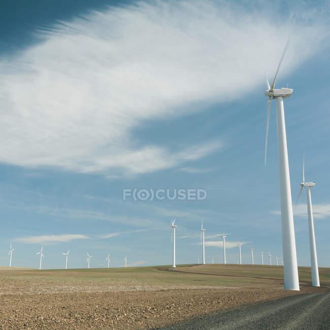 Вітрові турбіни, високий Білої вежі — стокове фото