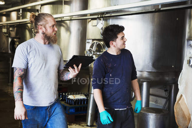 Men working in brewery — Stock Photo