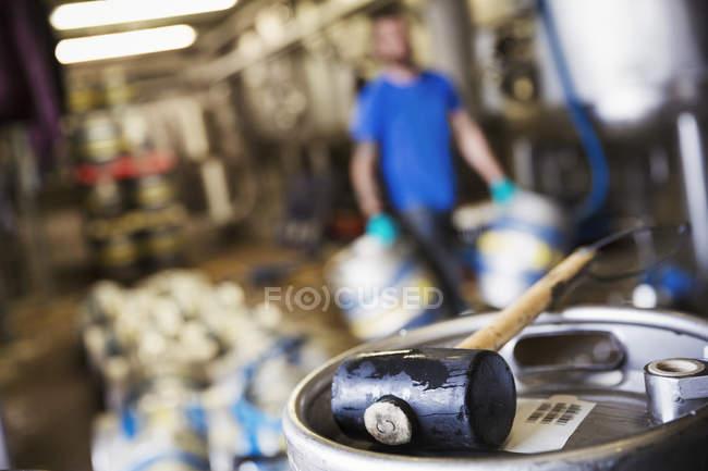 Metal beer keg in a brewery. — Stock Photo