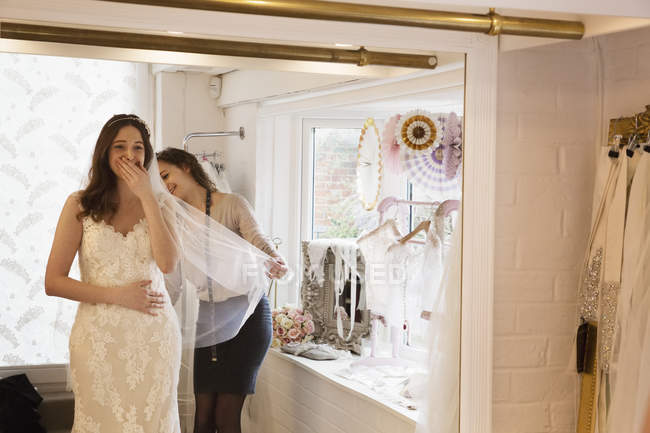 Woman Trying On Wedding Dress 25 30 Years Small Business