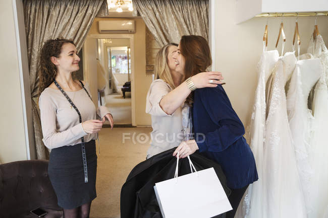Women in a wedding dress shop — Stock Photo