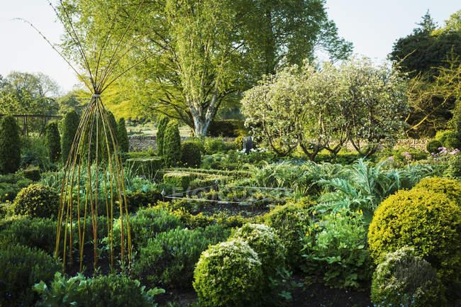 Vista jardim com canteiros de flores — Fotografia de Stock