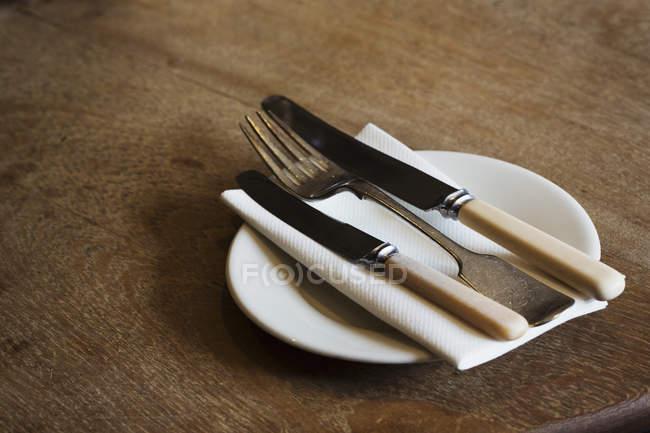 Plato con el tenedor y cuchillos - foto de stock