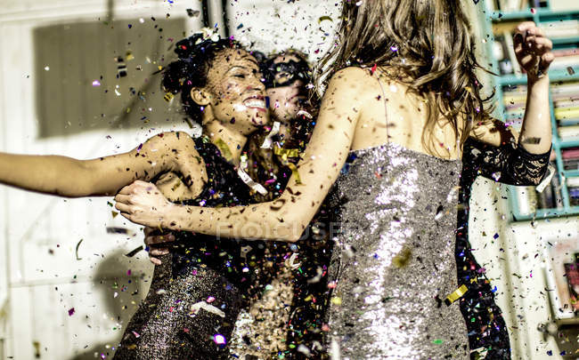 Young women at glitter party. — Stock Photo