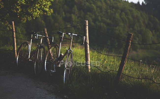 Fahrräder, wackelige Zaun gelehnt — Stockfoto