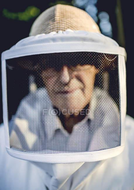 Beekeeper wearing veil. — Stock Photo
