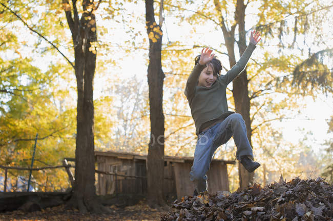 Мальчик, прыгающего в большую кучу осенних листьев. — стоковое фото