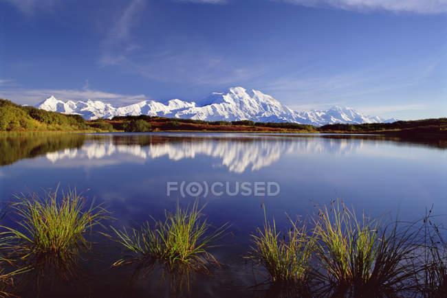 Mount McKinley reflecting in lake in Denali National Park, Alaska. — Stock Photo