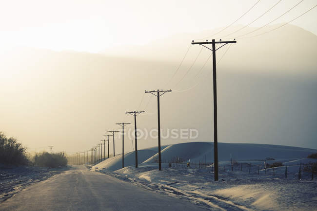 Power lines reaching into distance with mountain backdrop. — Stock Photo