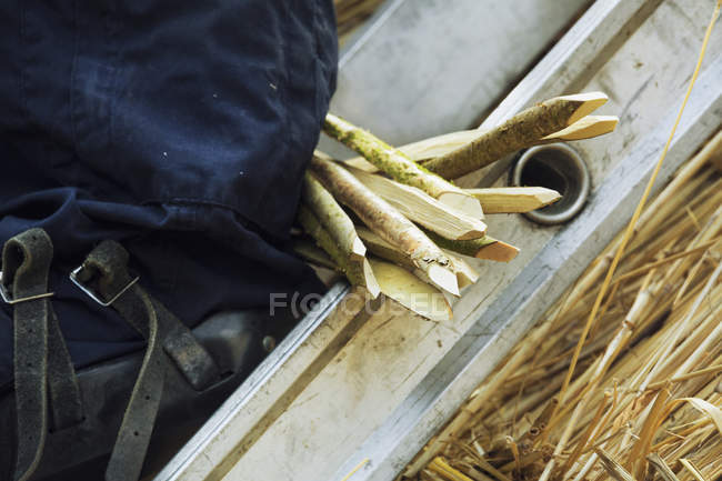 Close-up of bunch of wooden pegs for thatching roof. — Stock Photo