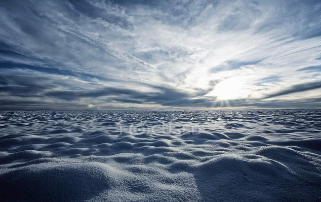 Snow covered field and view to horizon with backlit in Arizona, USA. — Stock Photo