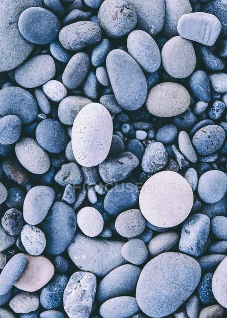 Pedras lisas polidas e seixos na costa do mar, quadro completo . — Fotografia de Stock