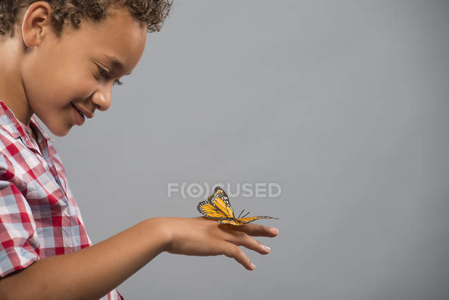 Side view of child with still butterfly on hand against grey background. — Stock Photo