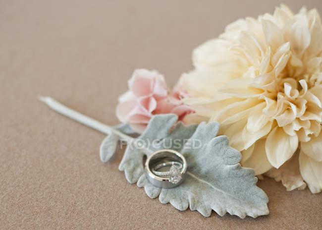 Blumen, Blatt und Trauringe auf glattem Hintergrund, Nahaufnahme. — Stockfoto
