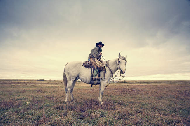 800cce78ea0 Side view of cowboy sitting on grey horse in field.