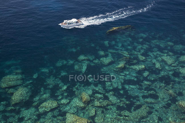 High angle view of cruise ship on calm clear water of Mediterranean sea. — Stock Photo