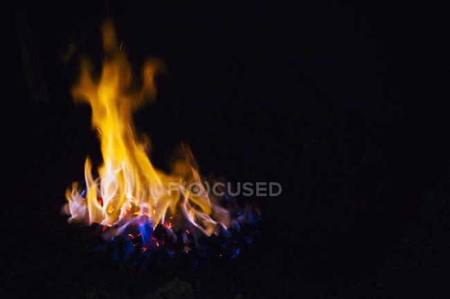 Coal burning inside furnace, close-up. — Stock Photo
