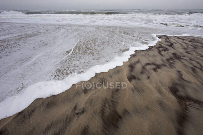 Waves lapping on shore on sandy beach. — Stock Photo