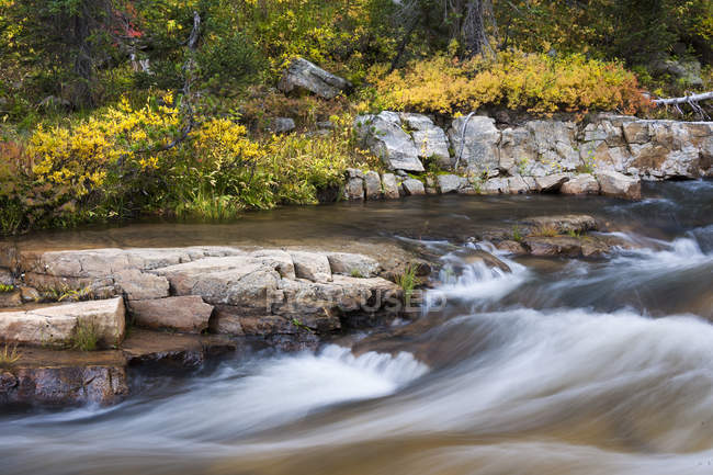 Autumnal foliage and rocky Upper Provo River in Utah, USA — Stock Photo