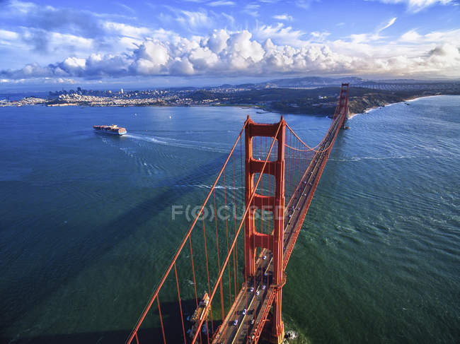 Aerial view of Golden Gate Bridge and landscape in San Francisco Bay and Bay  area, - Aerial View Of Golden Gate Bridge And Landscape In San Francisco Bay