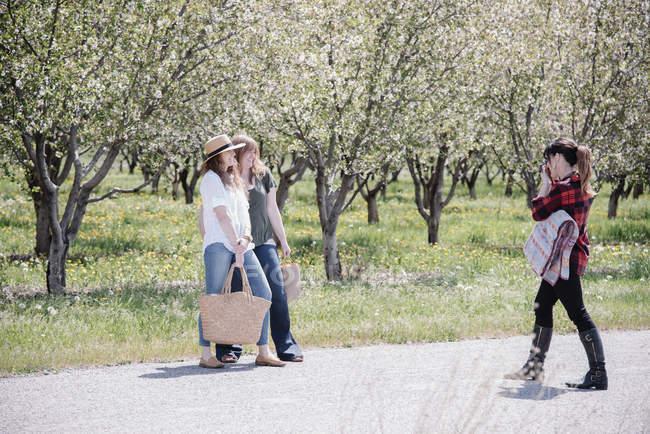 Женщина-фотограф фотографирует женщин в саду летом . — стоковое фото